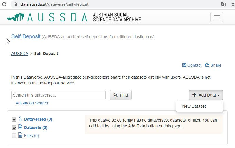 A screenshot of the new Self-Deposit section in the data archive AUSSDA.