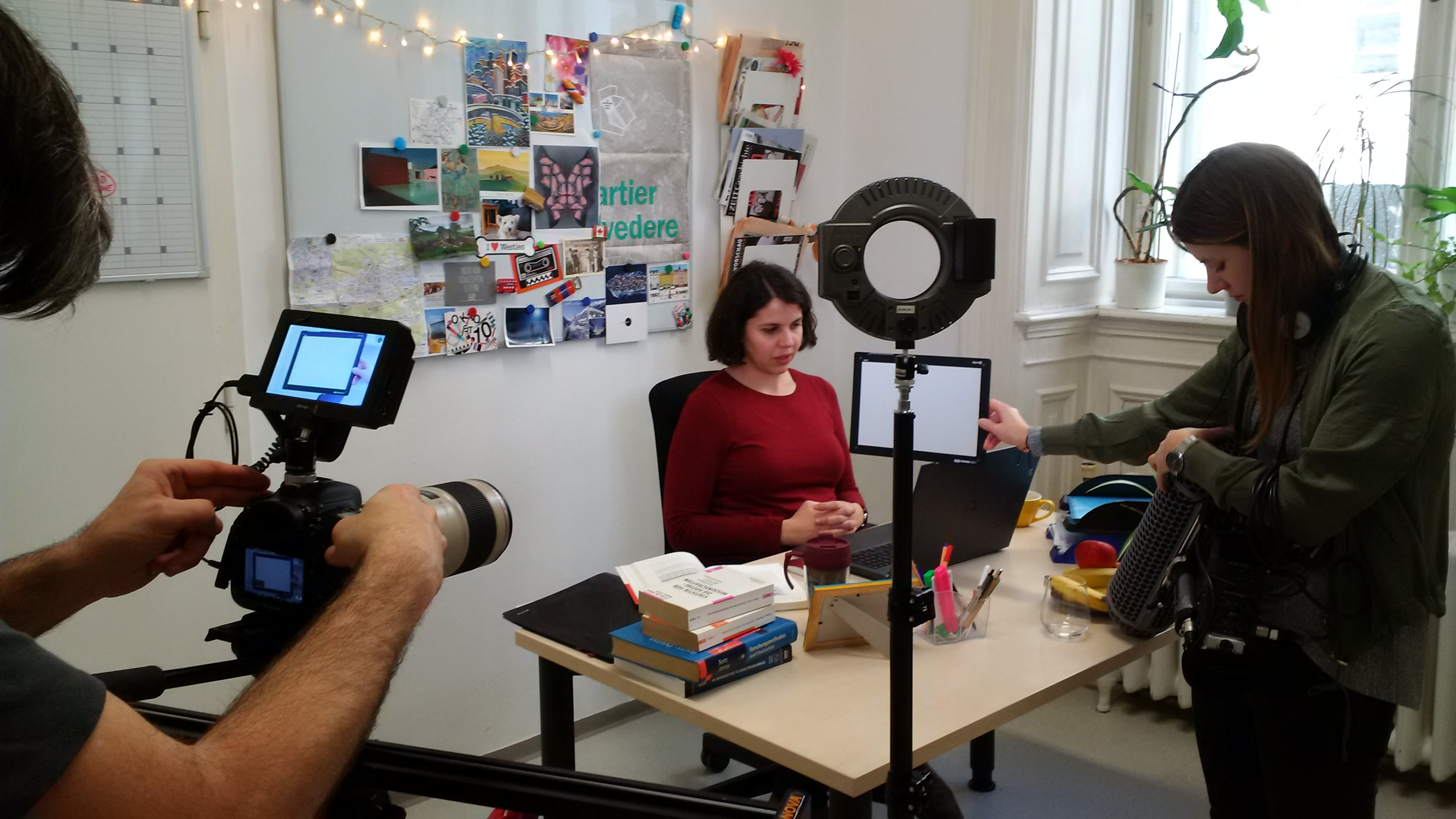 Filming the desk scene of the AUSSDA video
