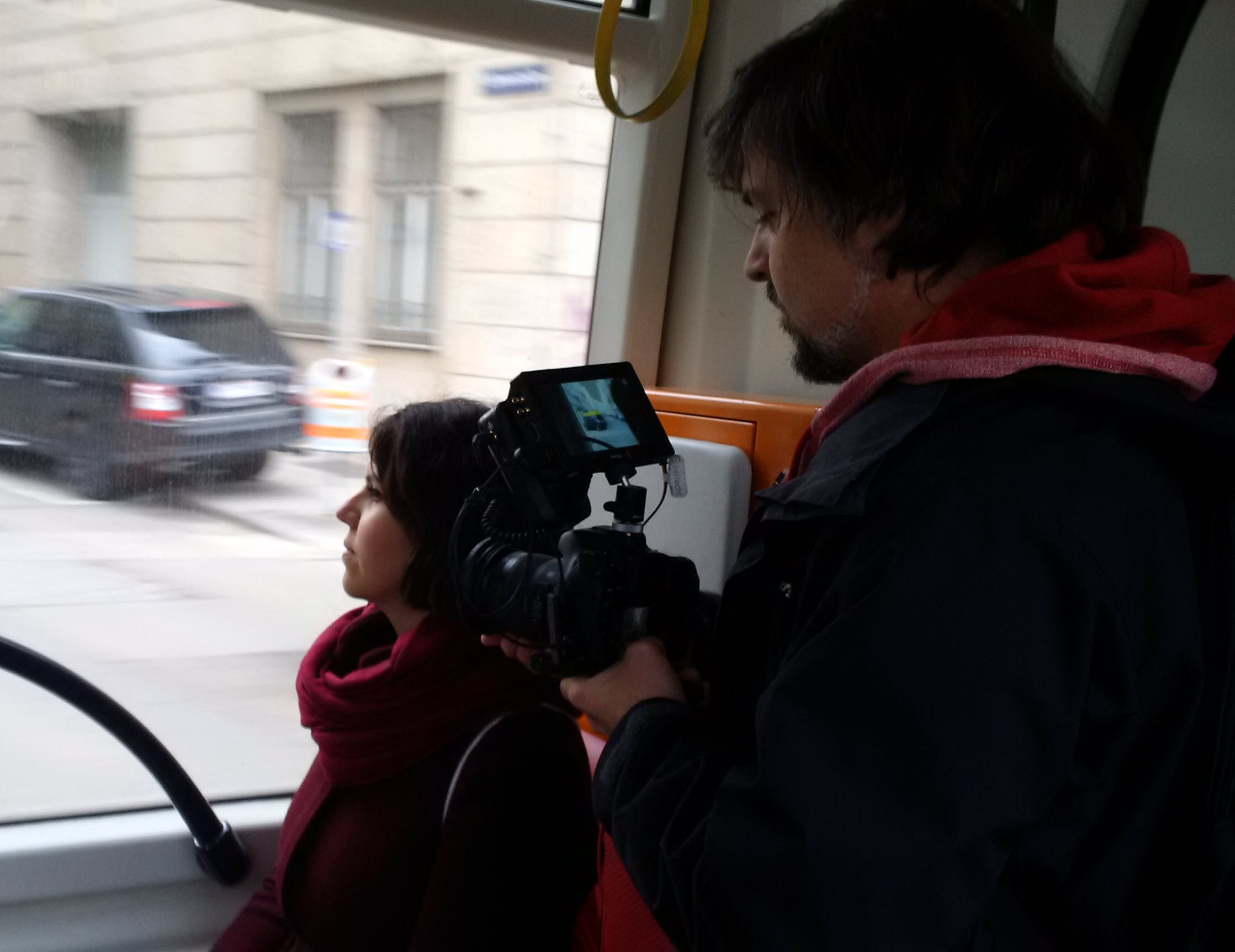 Filming on the road in a Viennese tram
